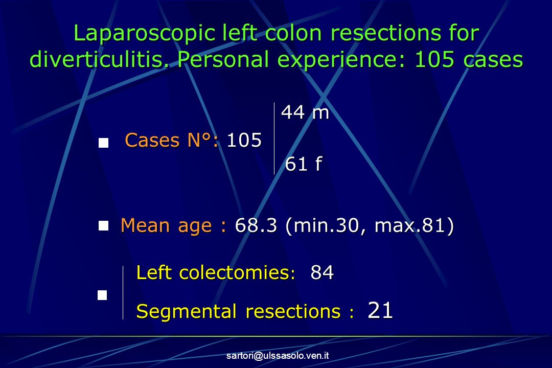 Laparoscopic left colon resections for diverticulitis