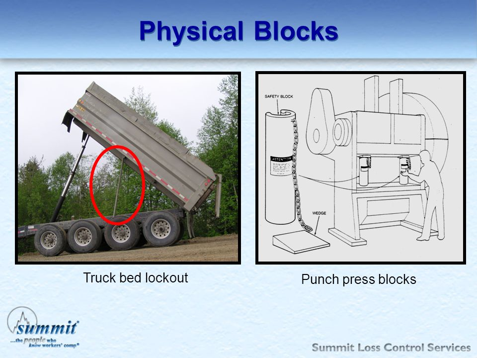 Physical Blocks Truck bed lockout Punch press blocks