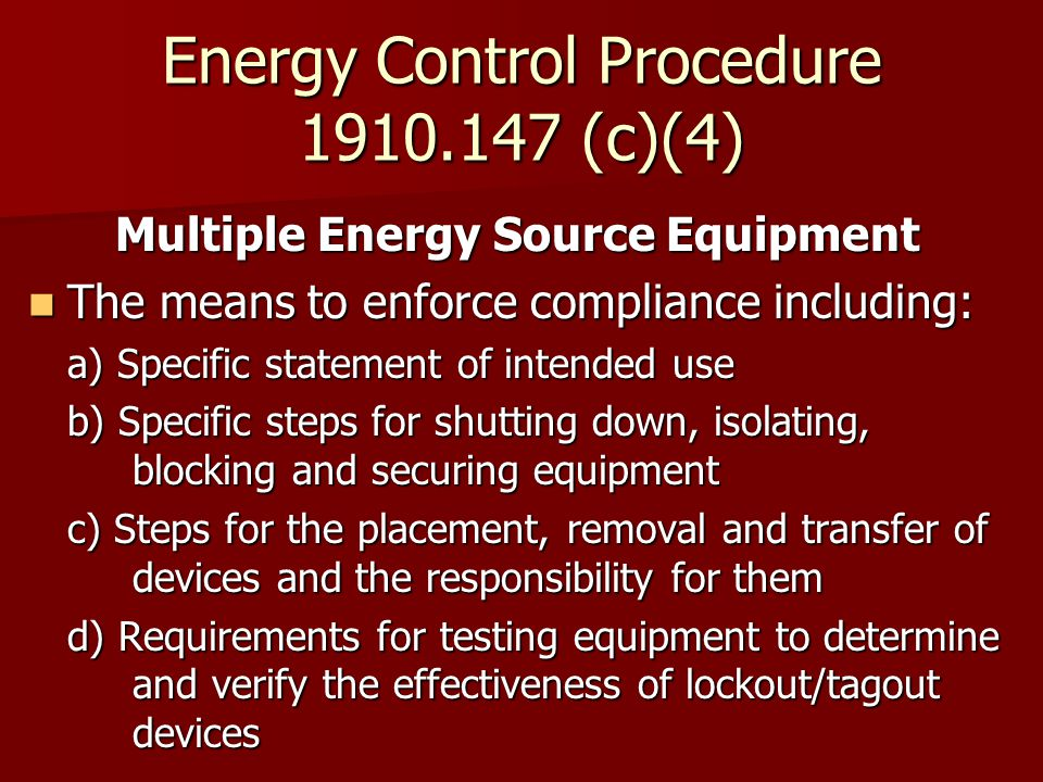 Energy Control Procedure (c)(4)