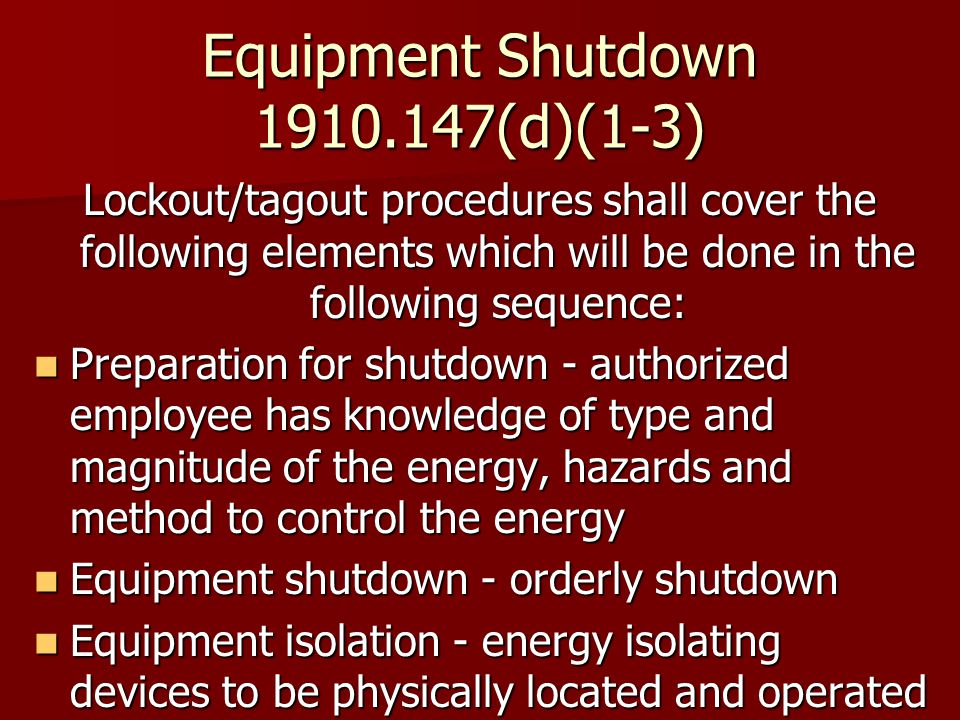 Equipment Shutdown (d)(1-3)