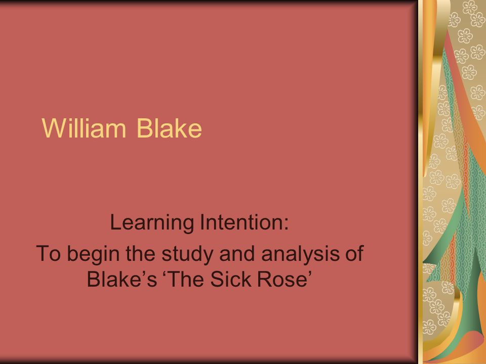 criticism of the sick rose Analysis of the sick rose written by william blake o rose, thou art sick the  invisible worm that flies in the night, in the howling storm, has found out thy bed.