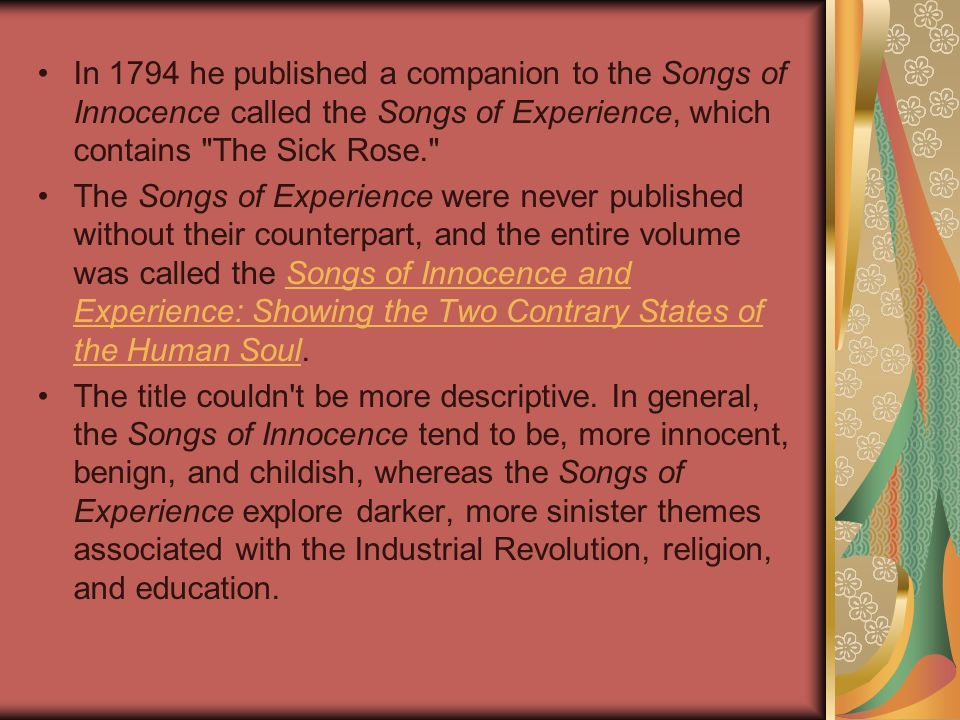 sick rose analysis Free the sick rose papers, essays,  - analysis of the sick rose written by william blake o rose, thou art sick the invisible worm that flies in the night,.