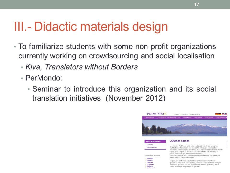 III.- Didactic materials design