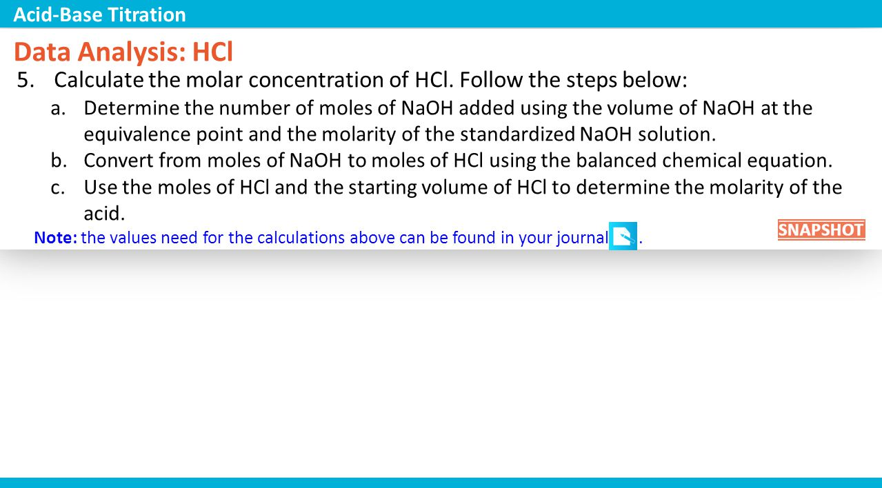 Volumetric analysis to find concentration of acid