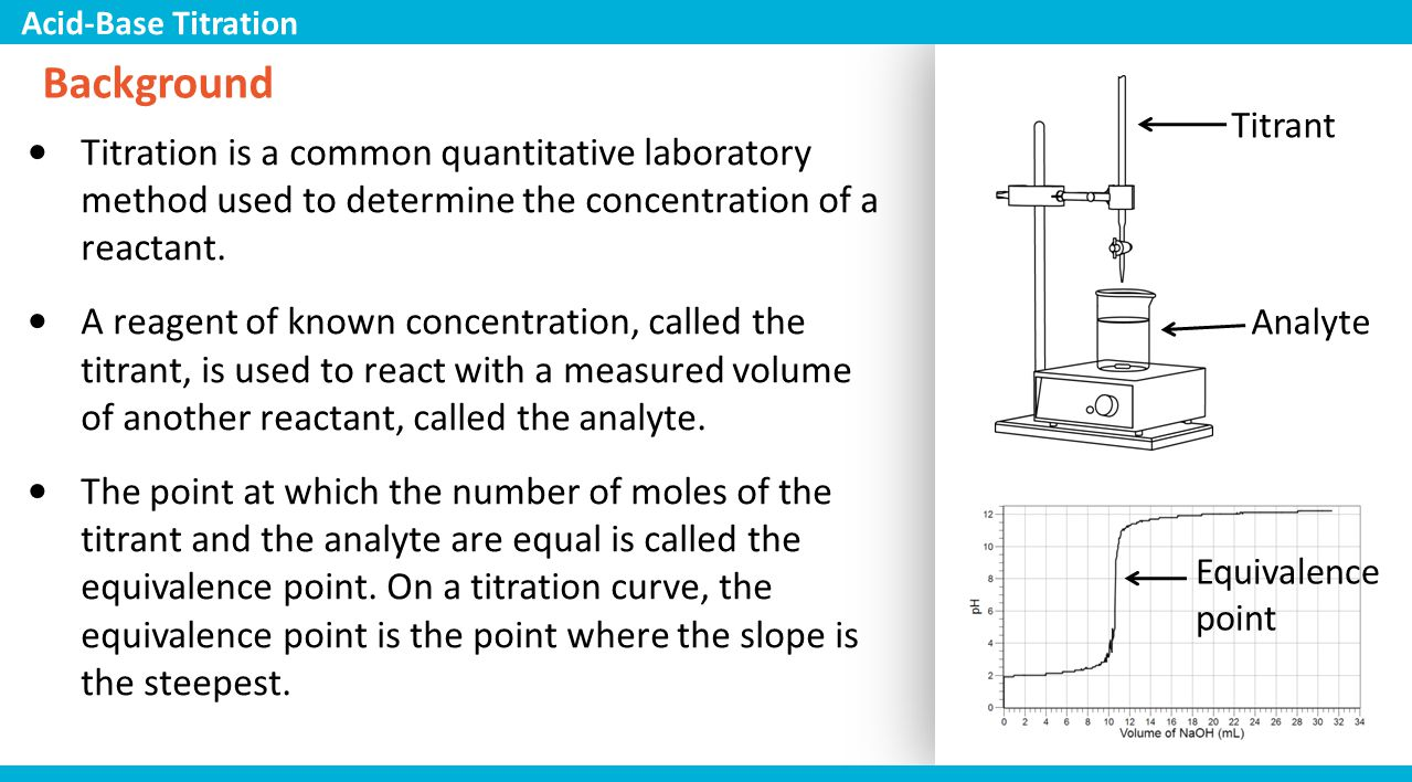 titration is an analytical method used Titration is rapid the method used must be adapted to the problem specific properties of the analytical instrument used cannot be considered.