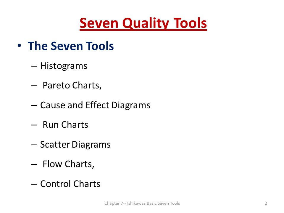 ishikawa basic tools Applying the seven basic quality tools in software development ishikawa's seven basic tools for quality control checklist (or check sheet) - to facilitate gathering data and to arrange data so it can be easily used later pareto diagram - a frequency chart of bars in descending order the bars are usually associated with types of problems.