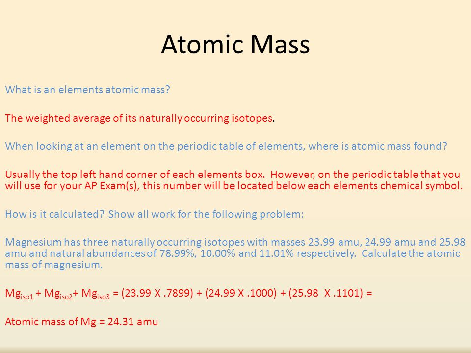 Atomic mass molar mass ppt video online download atomic mass urtaz