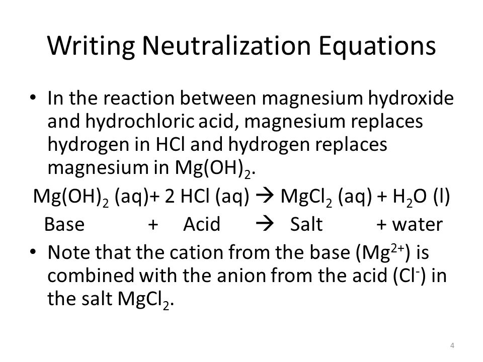 4 Writing Neutralization Equations In The Reaction Between Magnesium Hydroxide And Hydrochloric Acid