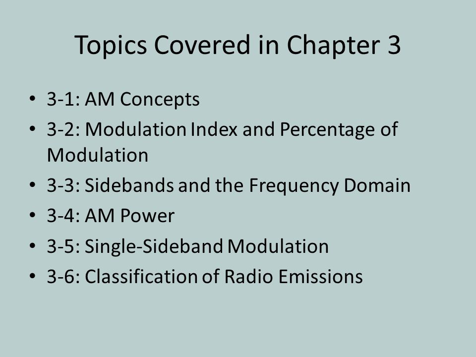 Topics Covered in Chapter 3