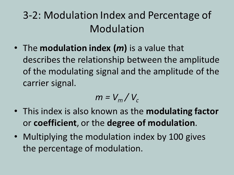 3-2: Modulation Index and Percentage of Modulation
