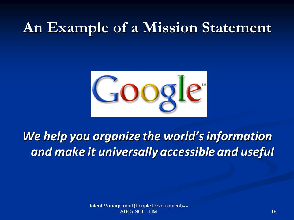 An Example of a Mission Statement