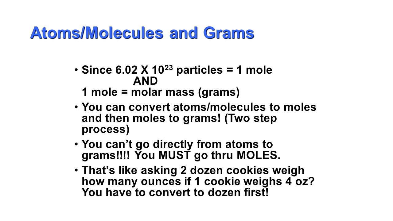 The mole chapter ppt download 24 atomsmolecules and grams nvjuhfo Choice Image