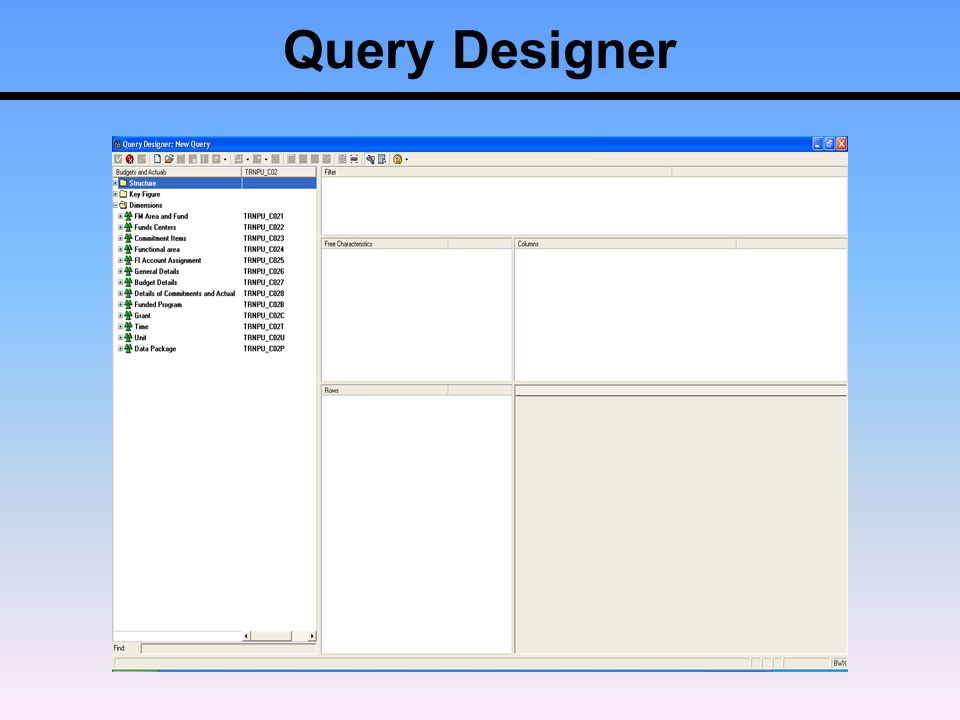 Sap business warehouse ppt download for Query design window
