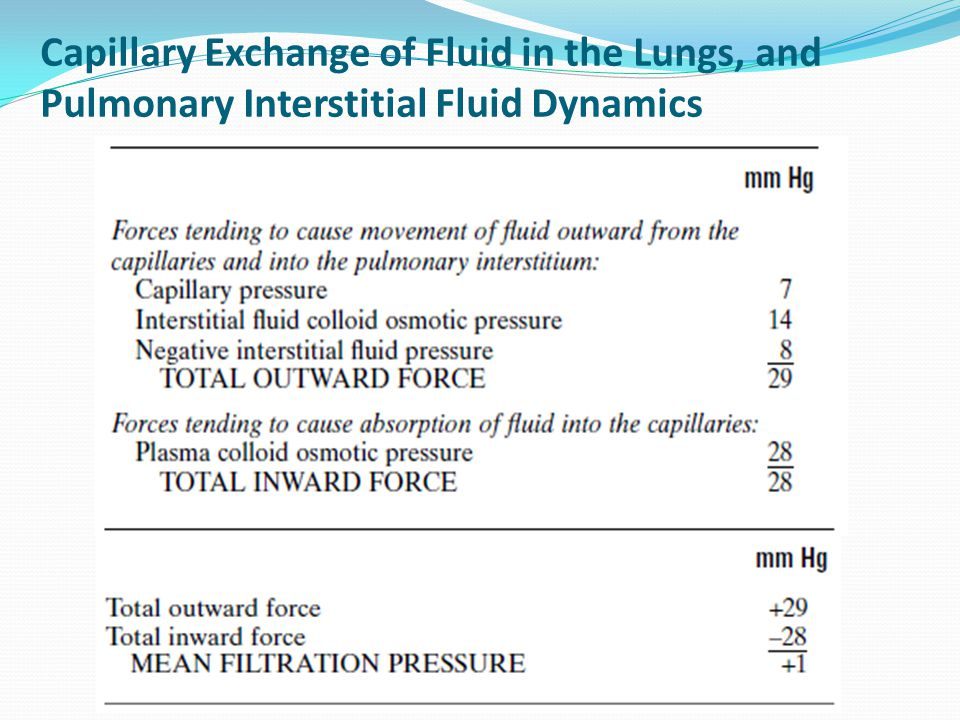 Capillary Exchange of Fluid in the Lungs, and Pulmonary Interstitial Fluid Dynamics