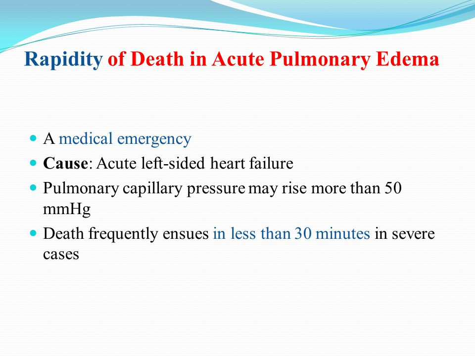 Rapidity of Death in Acute Pulmonary Edema