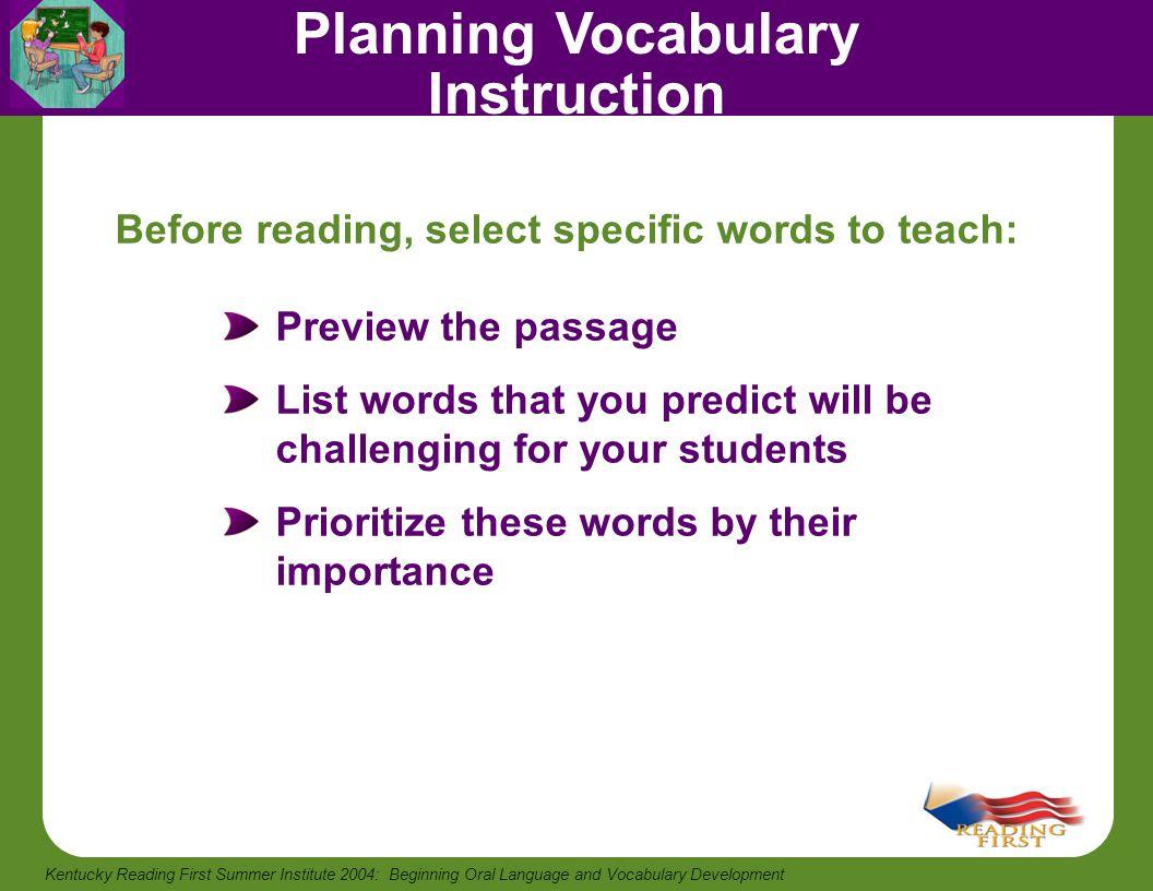Planning Vocabulary Instruction