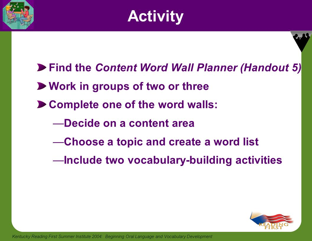 Activity Find the Content Word Wall Planner (Handout 5)