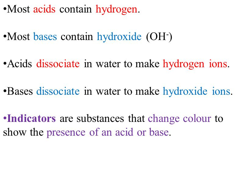 Most acids contain hydrogen.