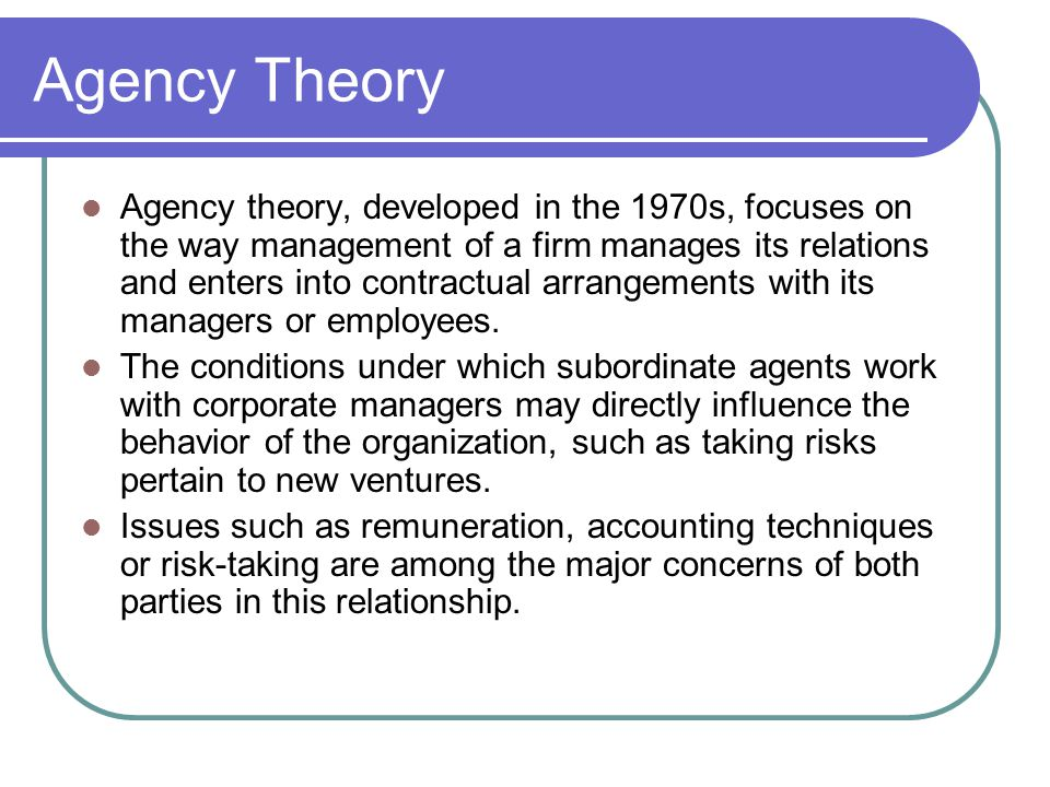 agency theory a This paper reviews the basic tenets and assumptions of agency theory, which  has emerged as a significant stream of research in the broader organizational.
