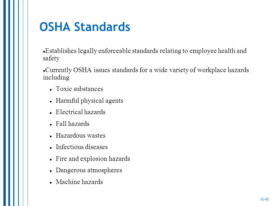Who is responsible for establishing osha standards