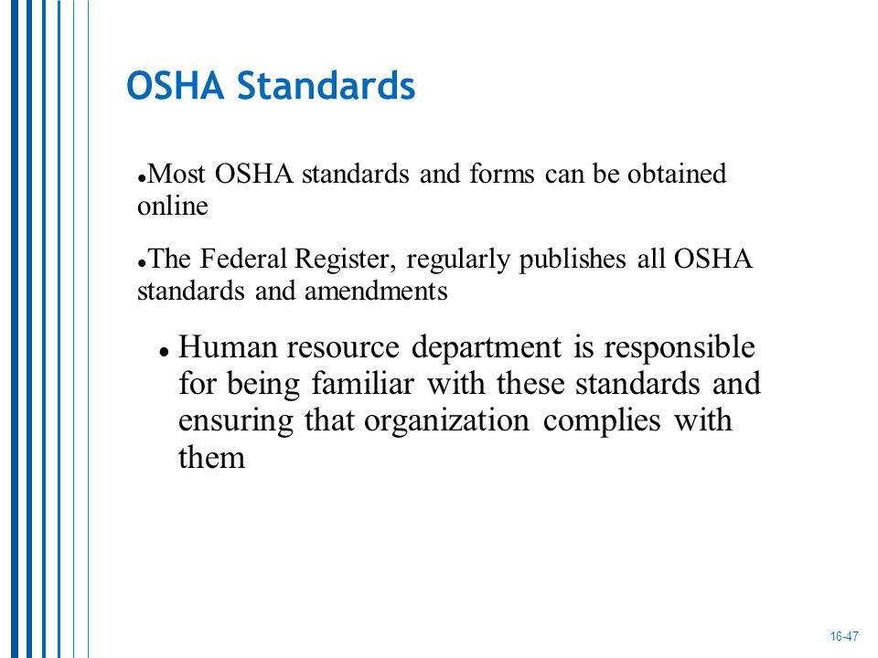 who is responsible for establishing osha standards Isea use and selection guide personal fall protection equipment 1 guide is based on osha regulations and ansi those responsible for establishing and.