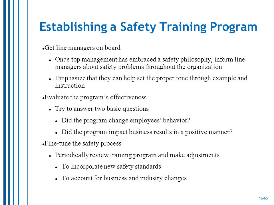 the safety training program (sample) safety and health training plan 10 introduction training is one of the  most important components within our company's safety management system.