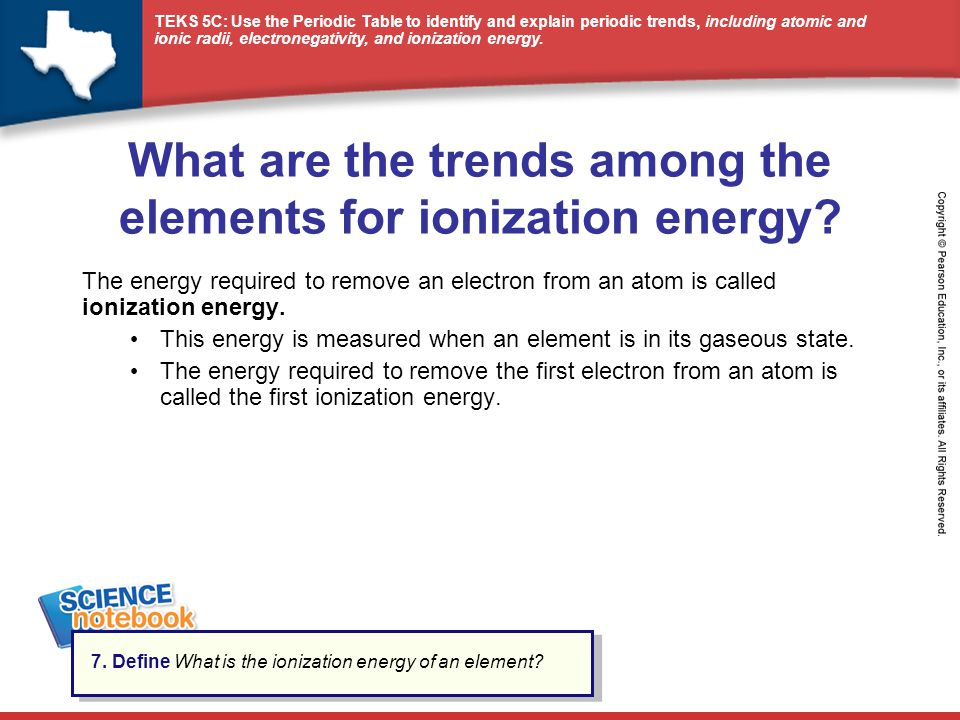 What are the trends among the elements for ionization energy