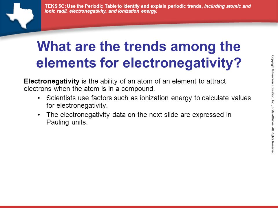 What are the trends among the elements for electronegativity