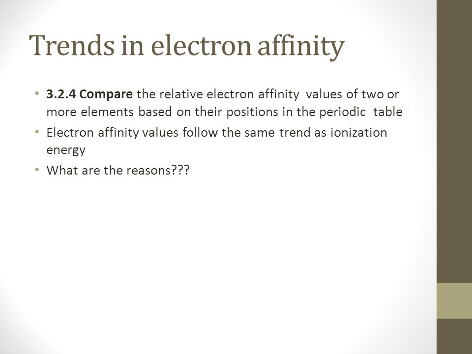 Trends in electron affinity