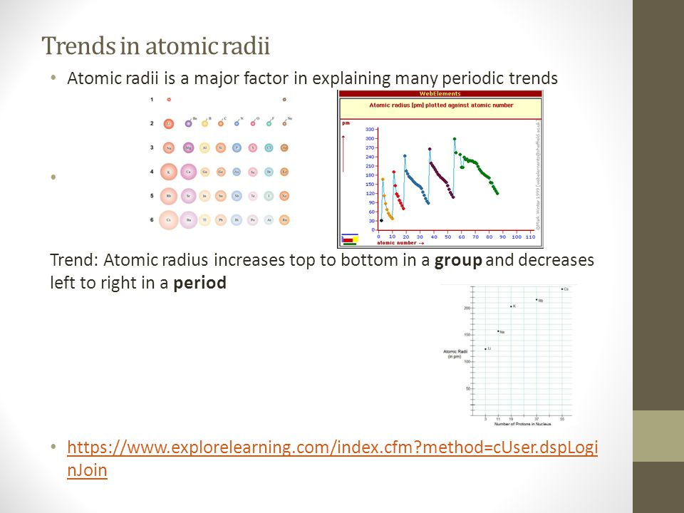 Trends in atomic radii Atomic radii is a major factor in explaining many periodic trends.