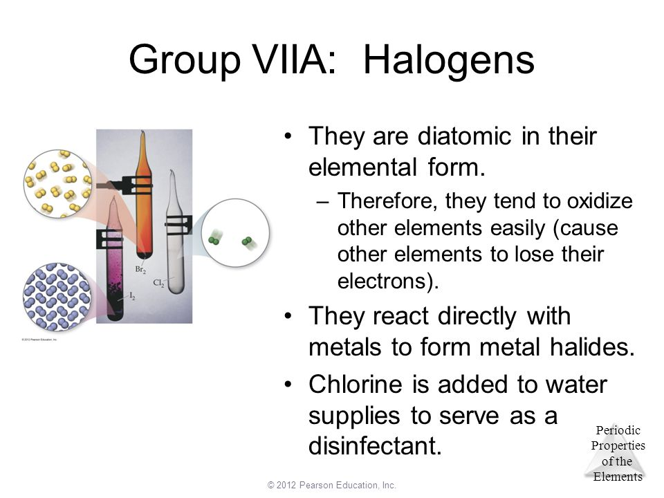 Group VIIA: Halogens They are diatomic in their elemental form.