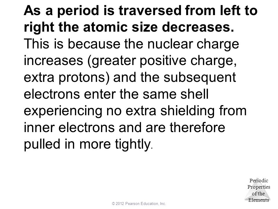 As a period is traversed from left to right the atomic size decreases