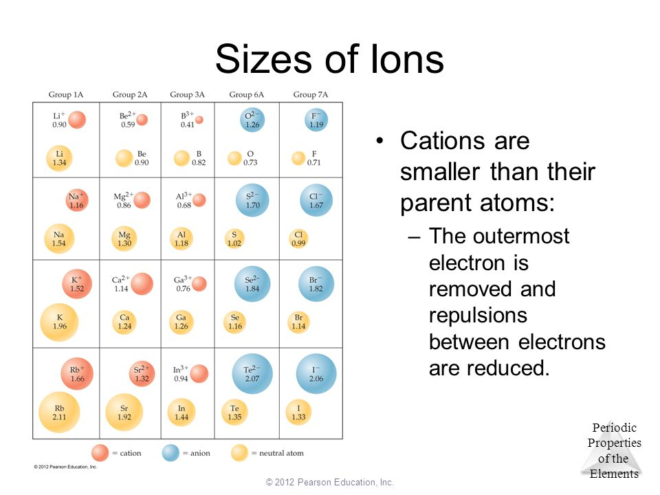 Sizes of Ions Cations are smaller than their parent atoms: