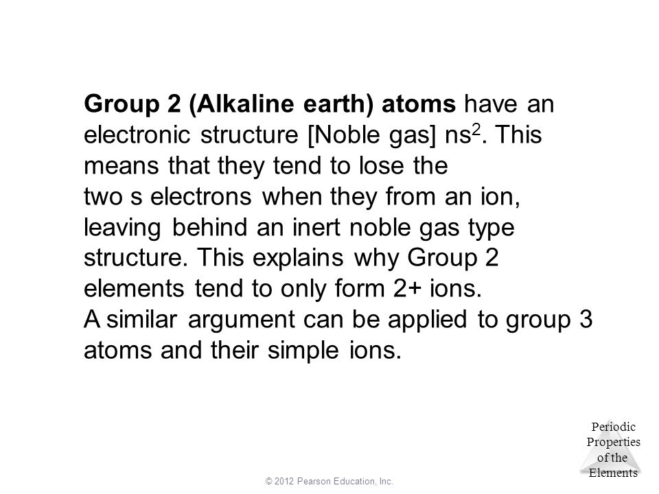 Group 2 (Alkaline earth) atoms have an electronic structure [Noble gas] ns2. This means that they tend to lose the