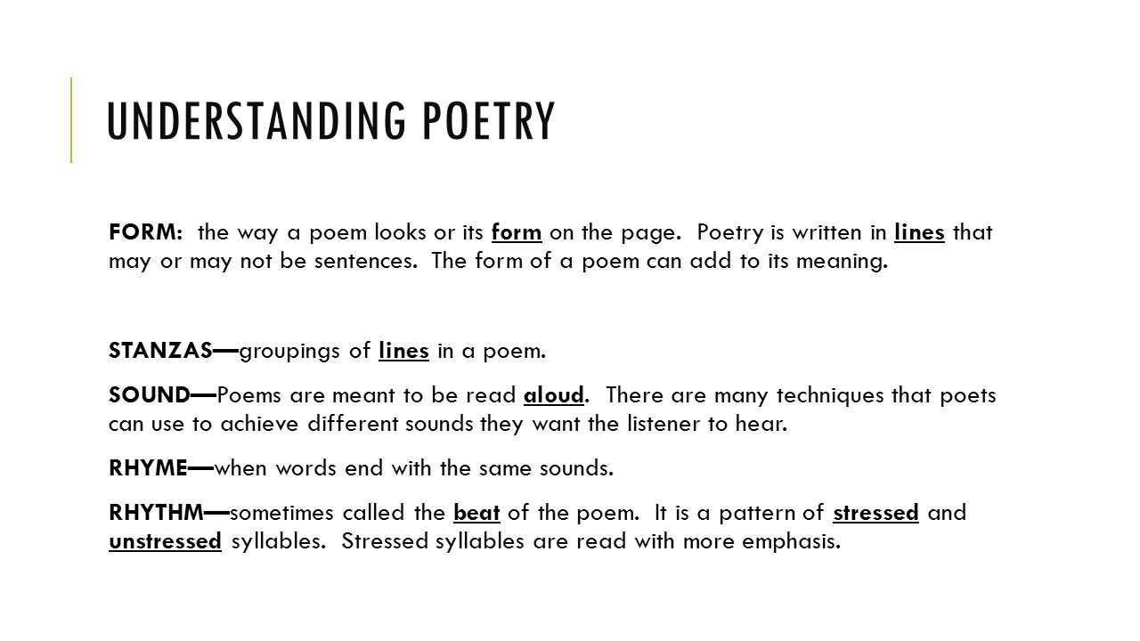 The elements of poetry. - ppt video online download
