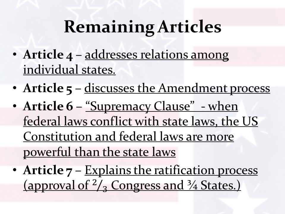 amendment Contemplate articles