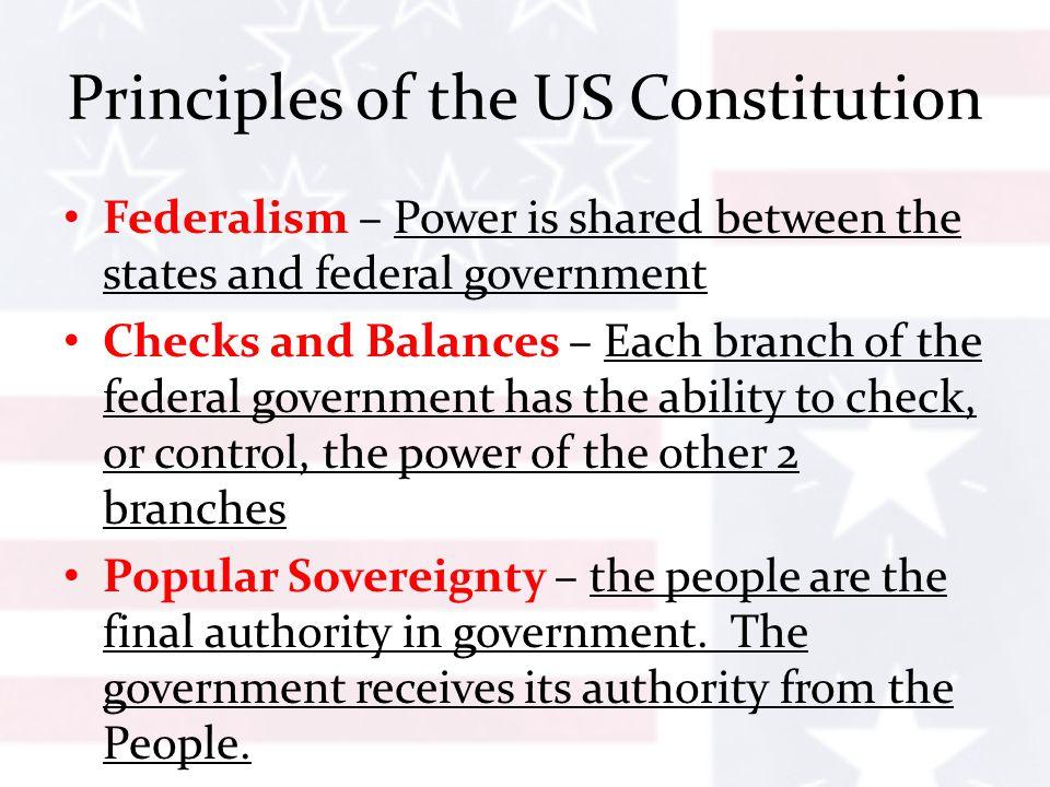 principles of the constitution Six principles of the constitution • popular sovereignty • limited government • separation of powers • checks and balances • judicial review.