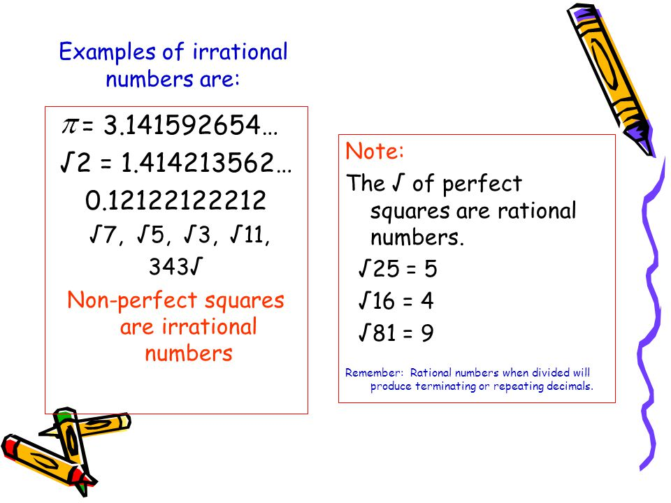 Irrational number examples for kids