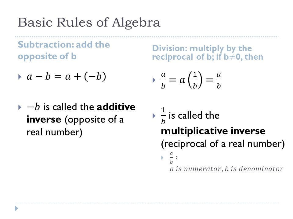 Basic Rules of Algebra 𝑎−𝑏=𝑎+ −𝑏