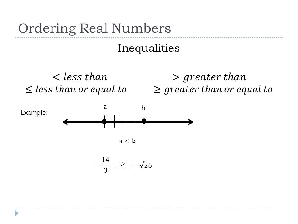 Ordering Real Numbers Inequalities <𝑙𝑒𝑠𝑠 𝑡ℎ𝑎𝑛 >𝑔𝑟𝑒𝑎𝑡𝑒𝑟 𝑡ℎ𝑎𝑛