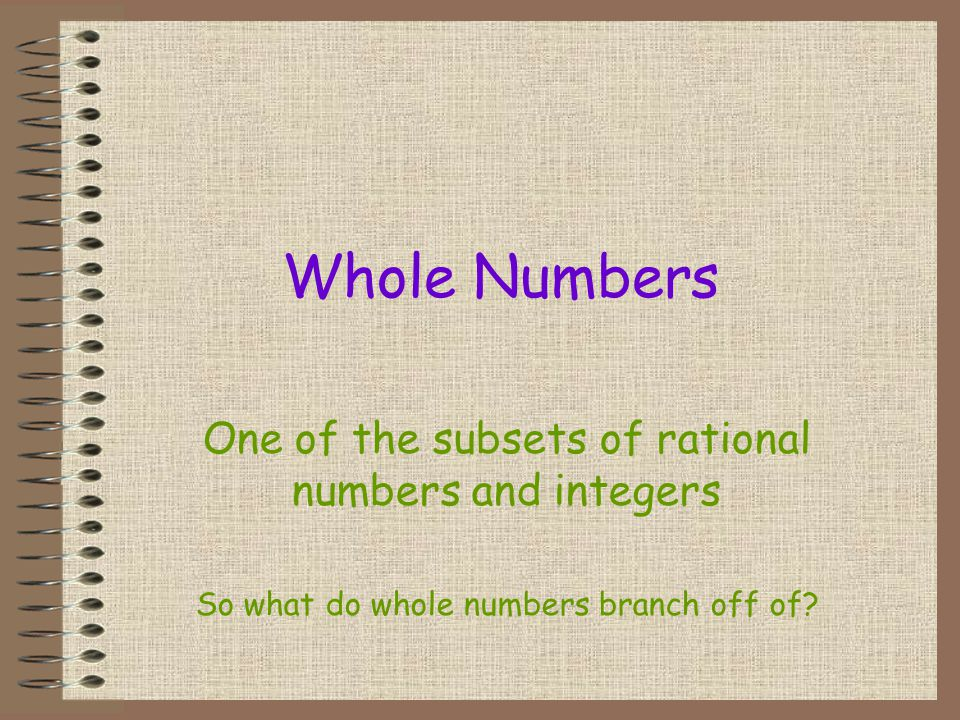 Whole Numbers One of the subsets of rational numbers and integers