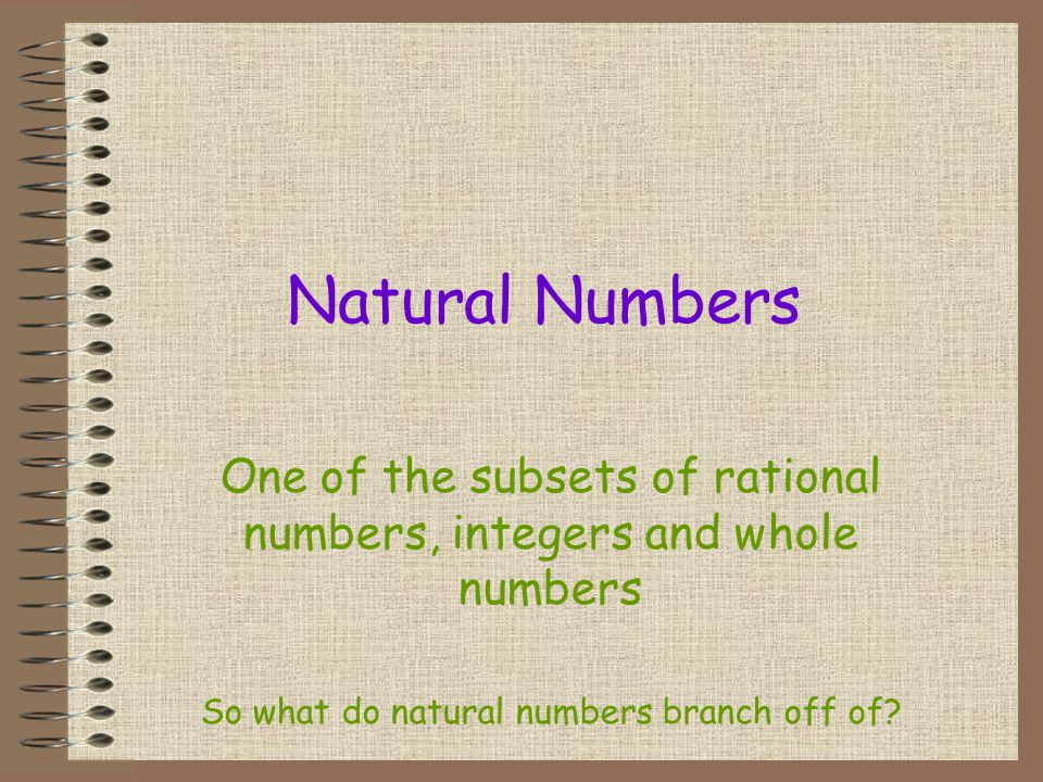Natural Numbers One of the subsets of rational numbers, integers and whole numbers.