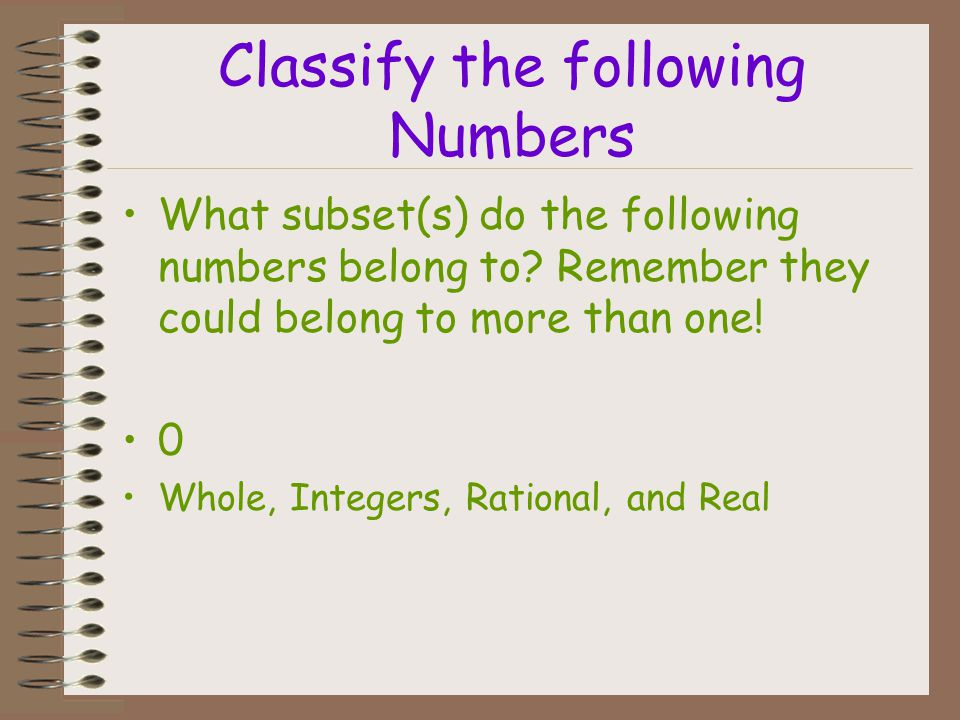 Classify the following Numbers