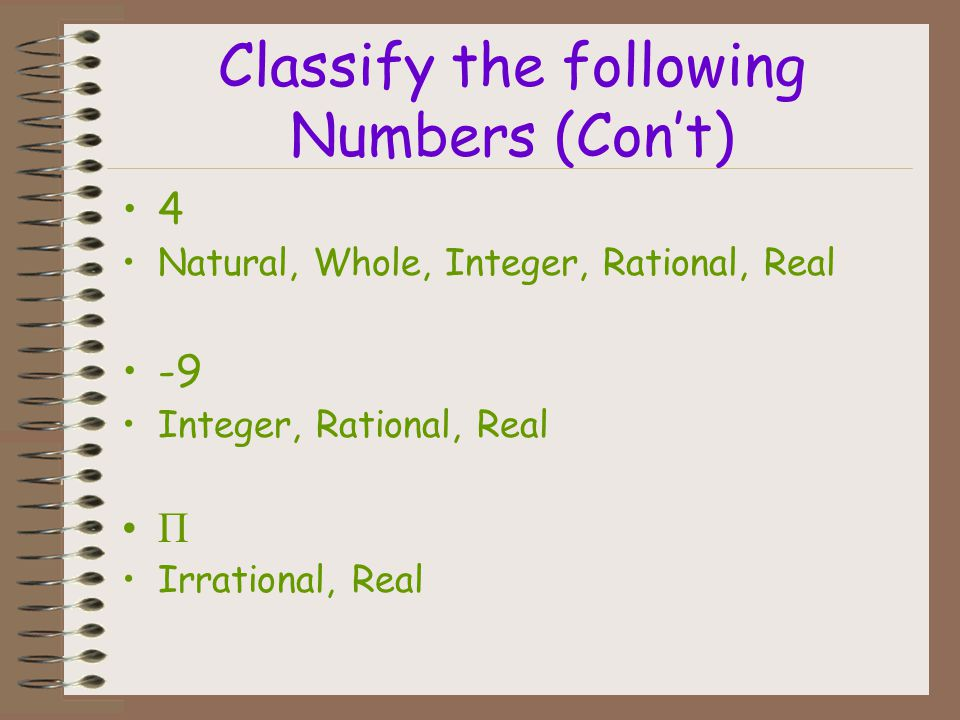 Classify the following Numbers (Con't)