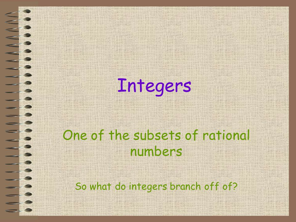 Integers One of the subsets of rational numbers