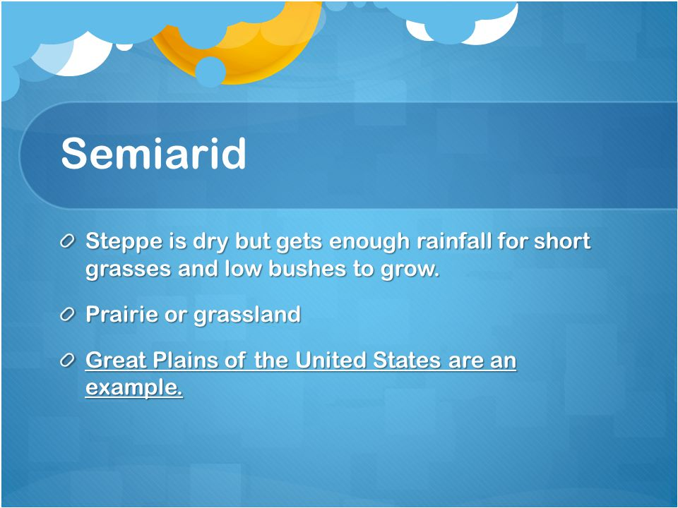 Semiarid Steppe is dry but gets enough rainfall for short grasses and low bushes to grow. Prairie or grassland.