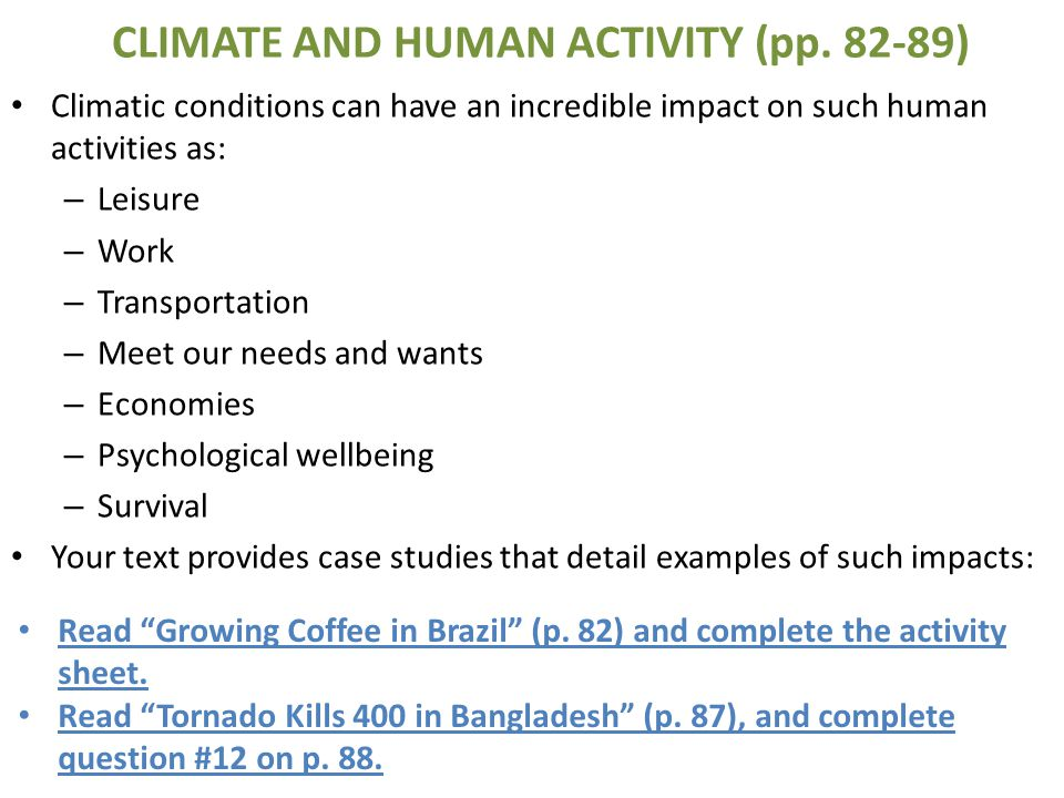 CLIMATE AND HUMAN ACTIVITY (pp )