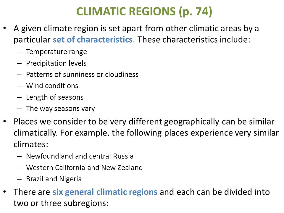 CLIMATIC REGIONS (p. 74)