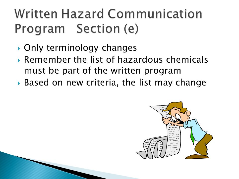 Writing a hazard communication plan