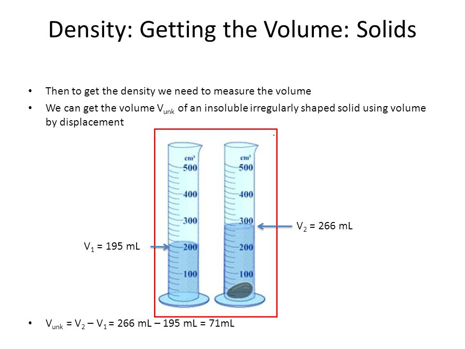 density of liquids and solids View lab report - lab #1 - density of solids and liquids from chem 2070 at cornell results and discussion the density of an unknown liquid was found using the.